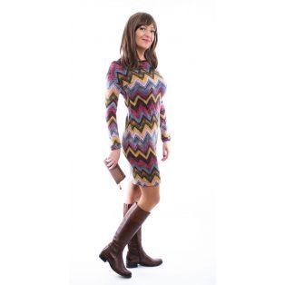 Rucy Fashion denevér fazonú, zikk-zakk mintás szűk fazonú, hosszú ujjú női kötött ruha