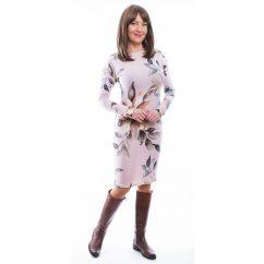 Rucy Fashion púder alapon virágmintás, hosszú ujjú szűk, denevér fazonú női kötött ruha