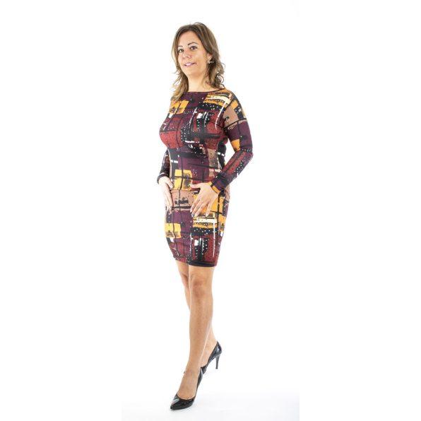 Vékony kötött ruha mustár bordó absztrakt mintával