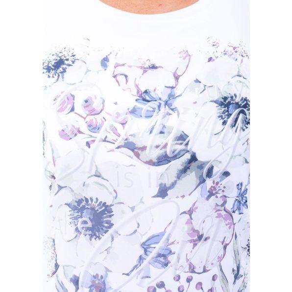 Ujjatlan fehér muszlin felső bevarrt trikóval zöldes virágmintával