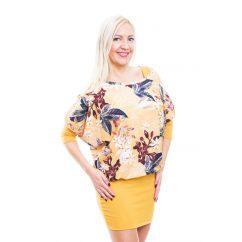 Rucy Fashion mustár virágos tunika trikóval, háromnegyedes, denevér ujjú ruha