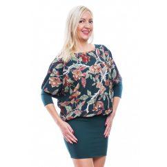 Rucy Fashion zöld alapon virágos tunika trikóval, háromnegyedes ujjú denevér fazonú ruha