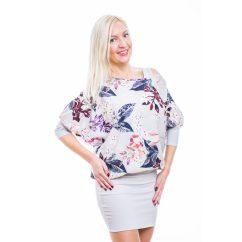 Rucy Fashion szürke alapon virágos tunika trikóval, háromnegyedes ujjú denevér ruha