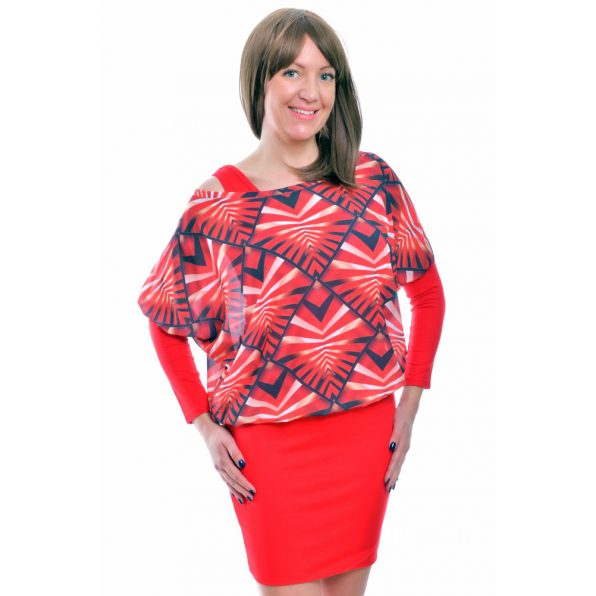 Rucy Fashion piros absztrakt mintás muszlin tunika