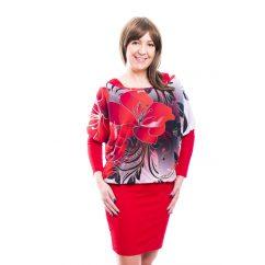 Rucy Fashion piros virág mintás muszlin tunika