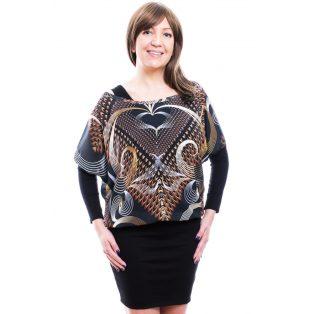 Rucy Fashion bronzos absztrakt mintás muszlin tunika