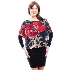 Rucy Fashion fekete cirádás-virágos muszlin tunika