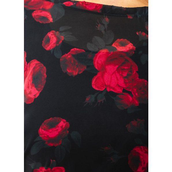Hosszú ujjú fekete alapon piros rózsás muszlin ruha, trikóval