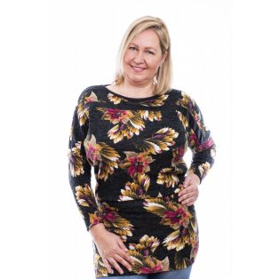 Rucy Fashion mustár-barna-bordó mintás vékony kötött tunika, hosszú ujjú denevér fazonú tunika