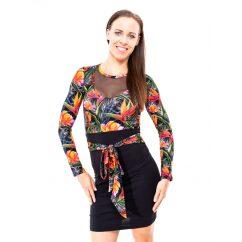 papagájvirágos ruha, alkalmi ruha, kötős ruha, necc díszes ruha,