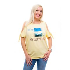 sárga tunika, rucy fashion nyári tunika, nyitott vállú felső,kötős vállú tunika,nyári kismama tunika