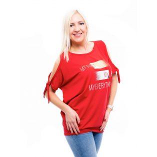 ferrari piros felső, tűzpiros felső, egyszínű piros tunika, rucy fashion tunika,nyitott vállú felső