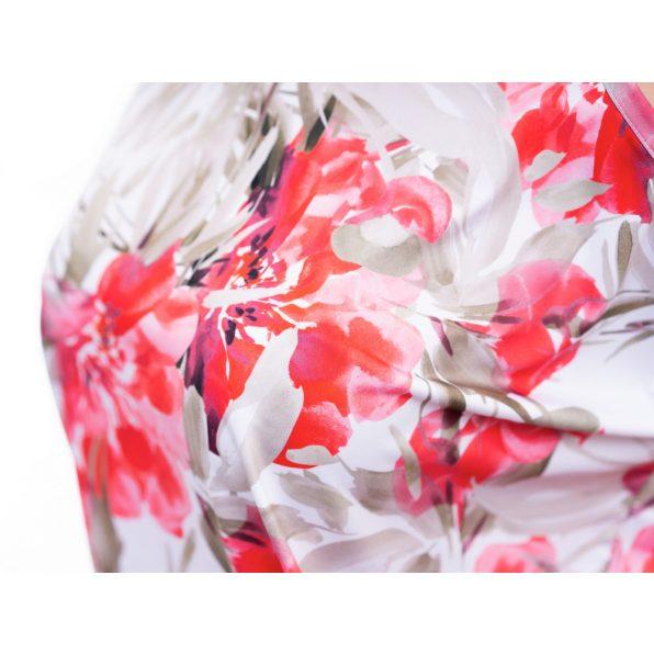 korall színű tunika, ujjatlan virágmintás tunika, korall színű kismama felső, rucy fashion tunika