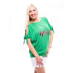 benetton zöld tunika, nyitott vállú zöld tunika,kötős ujjú nyári felső,élénk zöld felső,rucy fashion