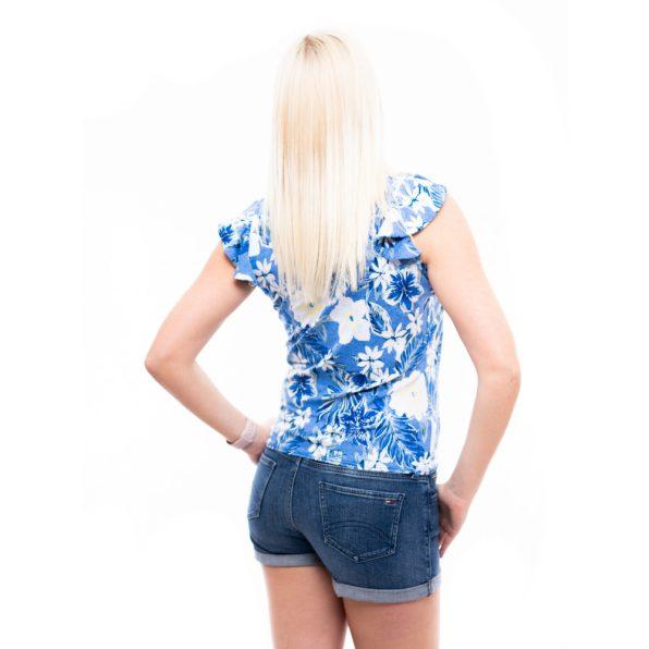 rucy fashion kis blúz, kiráálykék virágmintás blúz, hajtott nyakú blúz, elegáns nyári felső,