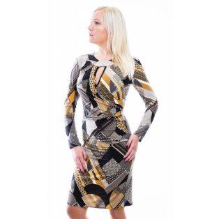 Rucy Fashion mustár-fekete absztrakt mintás átlapolt, húzott elegáns ruha