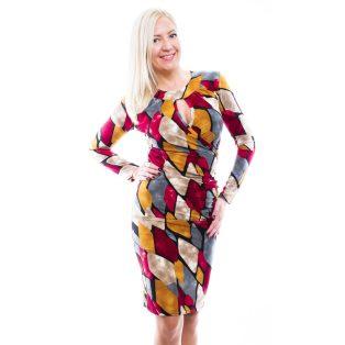 Rucy Fashion mustár-fekete-szürke-ekrü absztrakt mintás átlapolt, húzott elegáns ruha