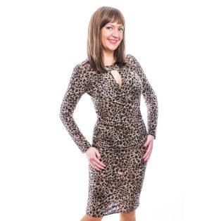 Rucy Fashion párduc mintás, átlapolt dekoltázsú, húzott derekú, hosszú ujjú, szűk fazonú, női ruha
