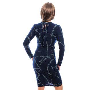 Rucy Fashion sötétkék absztrakt mintás átlapolt dekoltázsú, húzott derekú, hosszú ujjú, női ruha