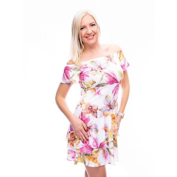 fodros szoknyás ruha, rakott szoknya, pillangó ujjú ruha, nyári alklami ruha, virágmintás ruha,