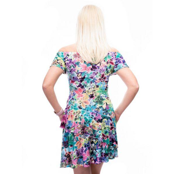 fodros szoknyás ruha, virágmintás harang ujjú ruha, harang ujjú ruha, tavaszi alkalmi ruha