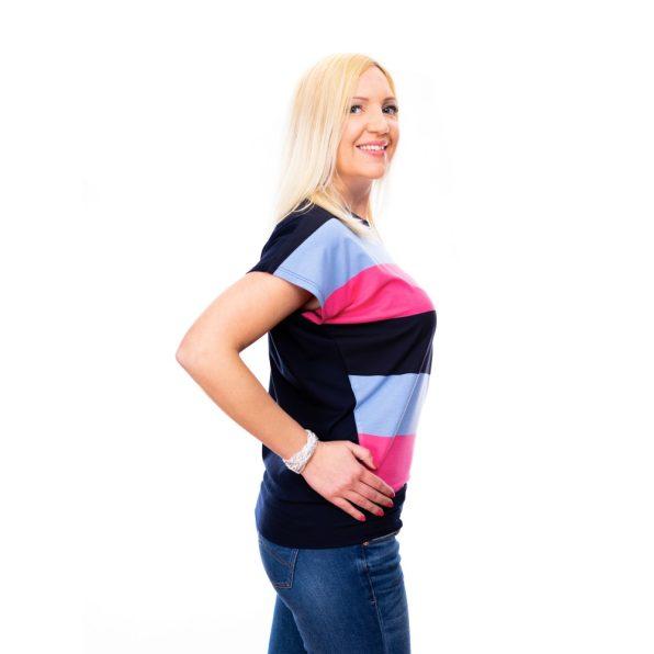 derékpasszés felső, csinos csíkos felső,pink-kék csíkos felső,denevér fazonú tunika,denevér felső,