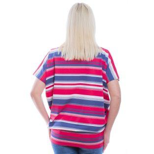 Rucy Fashion rövid ujjú farmerkék-rózsaszín-fehér csíkos lezser felső