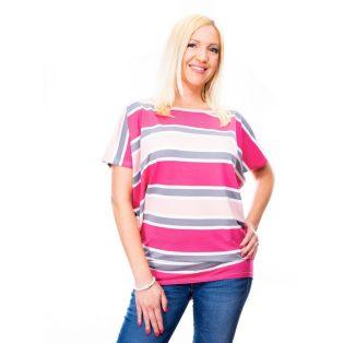 rózsaszín csíkos felső, kismama felső, csíkos plus size felső, pasztell színű tunika