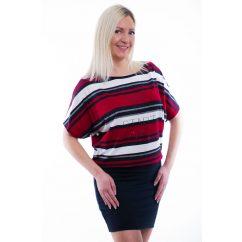Rucy Fashion sötétkék-piros-fehér csíkos rövid ujjú denevér fazonú ruha / tunika