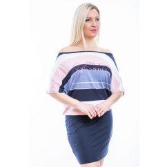 Rózsaszín-farmerkék-sötétkék csíkos rövidujjú denevér fazonú ruha/tunika