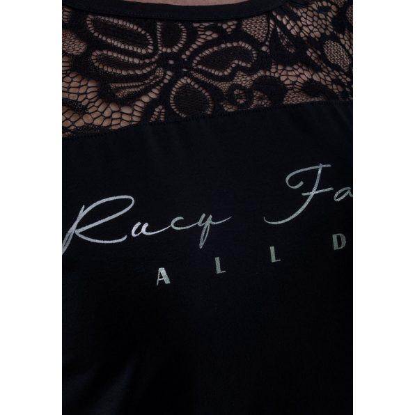 """Rövid ujjú fekete csipkevállbetétes felső """"Rucy Fashion"""" felirattal"""