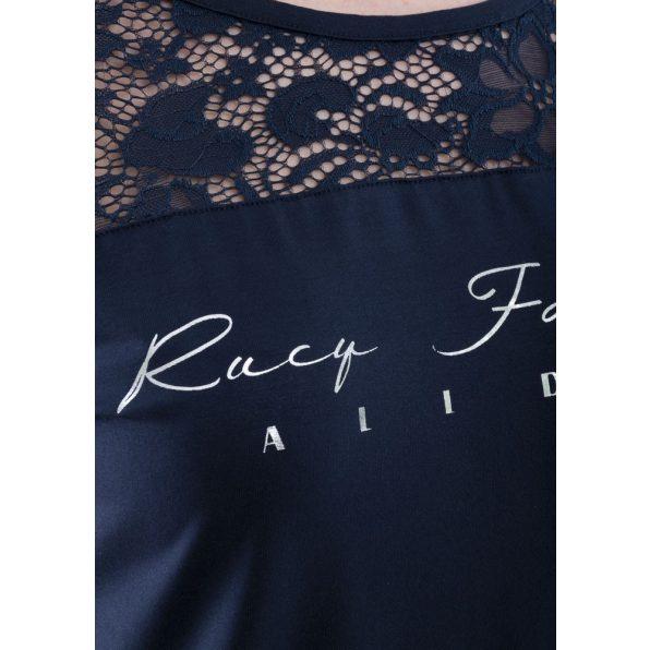 """Rövid ujjú sötétkék csipke vállbetétes felső """"Rucy Fashion"""" felirattal"""