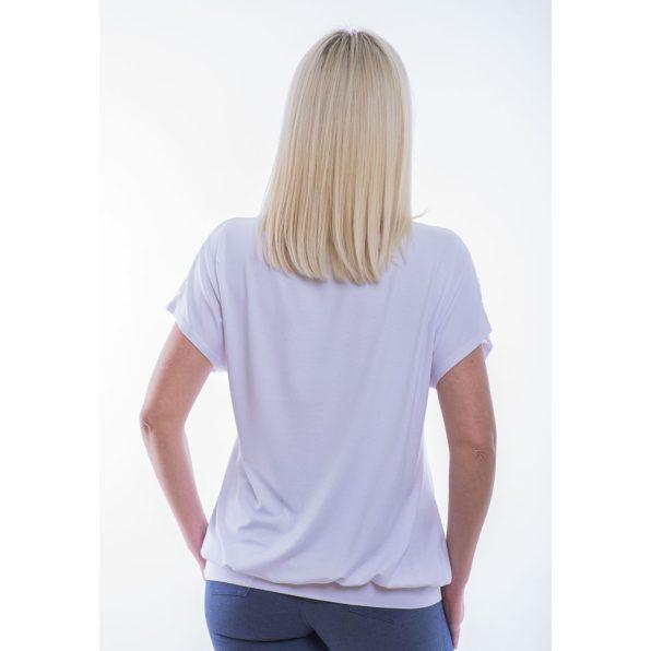 Rucy Fashion/fehér csipkevállú rövid ujjú passzés felső