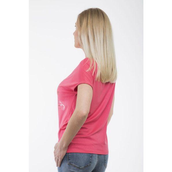 Rövid ujjú pink színű elől kötős felső