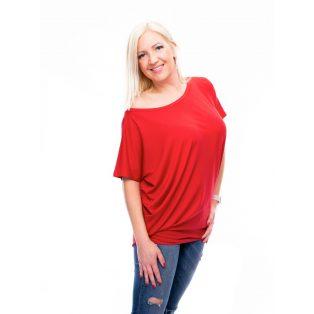 ferrari piros felső, tűzpiros felső, egyszínű piros tunika, rucy fashion tunika,