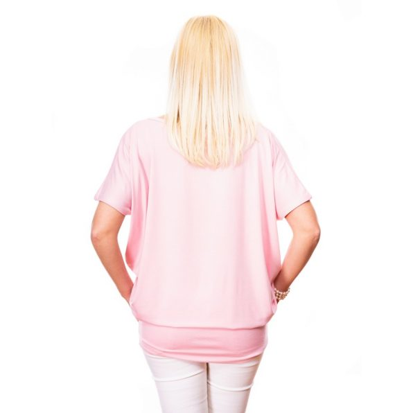 egyszínű tunika, rózsaszín tunika, lezser felső, basic tunika,rózsaszín alkalmi felső