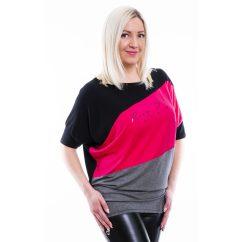 Rucy Fashion fekete-pink-szürke keresztbe vágott, rövid ujjú denevér fazonú felső