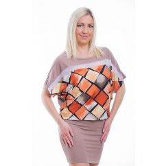 Rucy Fashion rövid ujjú drapp alapon színátmenetes rombusz mintás denevér fazonú ruha