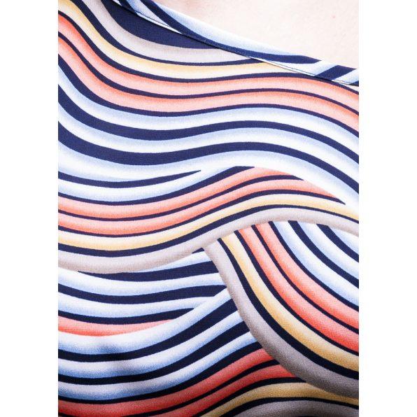 Rucy Fashion rövid ujjú sötétkék alapon színátmenetes hullám mintás lezser felső