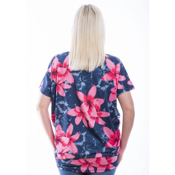 Rucy Fashion rövid ujjú farmerkék alapon rózsaszín virág mintás lezser felső