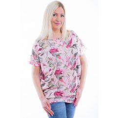 Rucy Fashion rövid ujjú púder-fehér csíkos alapon pink-keki virágmintás lezser felső