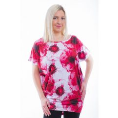 Rucy Fashion rövid ujjú fehér alapon piros virágmintás lezser felső