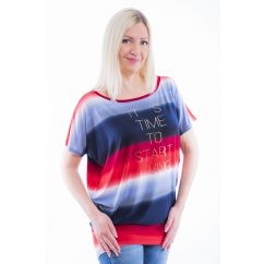 Rucy Fashion piros-kék színátmenetes lezser, denevér fazonú, rövid ujjú felső