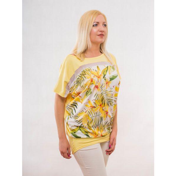 sárga tavaszi felső, világos sárga felső, napsárga tunika, trópusi mintás tunika,