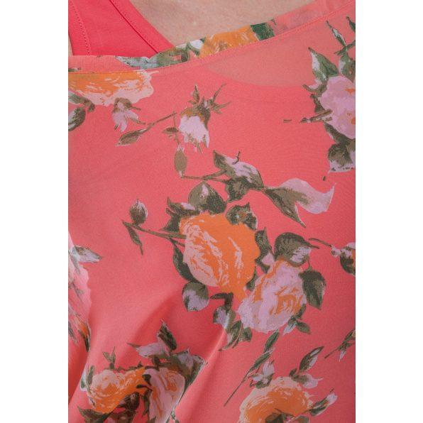 Rövid ujjú barack színű virágmintás muszlin ruha/tunika