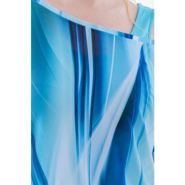 Rövid ujjú türkizkék színátmenetes muszlin ruha, tunika