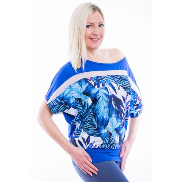 Rucy Fashion/Rövid ujjú királykék alapon tropical pálmalevél mintás passzés felső