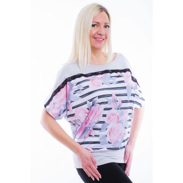 Rucy Fashion Ezüstszürke alapon csíkos-virágos passzés felső