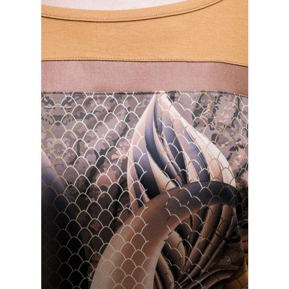 Rucy Fashion rövid ujjú levél és csipke mintás lezser felső, fahéj alapon