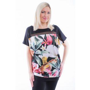 Rucy Fashion rövid ujjú fekete alapon tropical virág mintás lezser felső